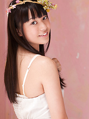Tomoe Yamanaka Asian in white dress is beautiful like summer days