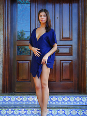 Zelda's elegant beauty and gorgeous body stands out in this royal blue set