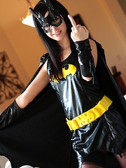 If anybody can turn Batman and Robin straight it's superslut Catie Minx as Batgirl